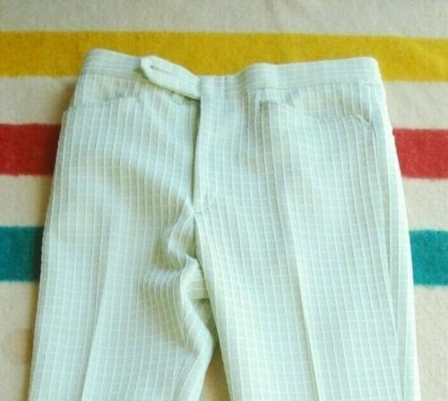 Vintage 70s Lee Polyester Green Checked Plaid Hippie Dress Pants Mens 35 Mod