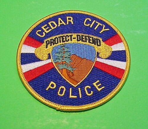 "CEDAR CITY  UTAH  UT  PROTECT - DEFEND  4""  POLICE PATCH  FREE SHIPPING!!!"