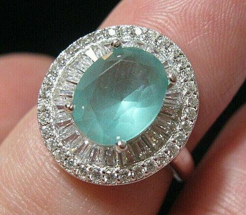 Beautiful Jewellery Sterling SILVER Aqua Chalcedony Topaz Gem Stone RING M 6