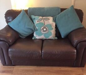 Brown Real Leather Solid Two Seater Sofa Settee Chunky