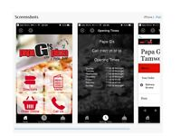 Apple Android Apps and Website 4 Restaurant Bar Takeaway Fast Food Fish & Chips Delivery Epos