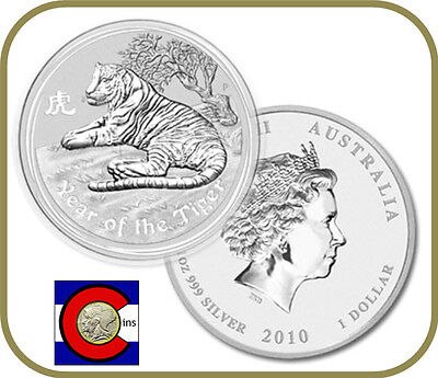 2010 Lunar Tiger 1 oz Silver Australian series II from Perth Mint in Australia on Rummage