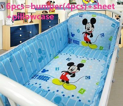Disney Mickey Mouse Crib Sheet Baby Bedding Cot Set 6PCs Nursery Boy Girl Infant ()
