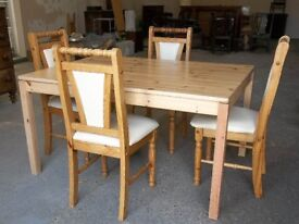Solid Pine Dining With Four Soft Leather Chairs
