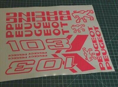 1 planche Autocollant stickers mobylette Peugeot 103 sp spx rcx chrono couleur rose Fluo