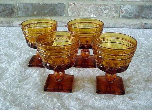 Vintage Indiana Glass Park Lane Amber Glasses (4) Champagne Tall Sherbet