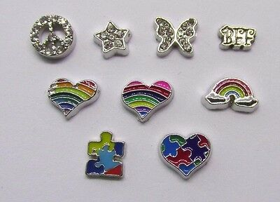Rainbow Star Peace sign BFF Best friends forever Floating charms living
