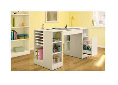 White Craft Table Arts & Crafts Storage Furniture Sewing Drawing Scrapbooking