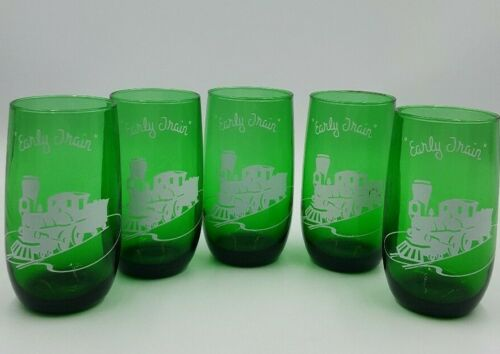 """Set of 5 Anchor Hocking Fire King Forest Green """"Early Train"""" Glass Tumblers Cups"""