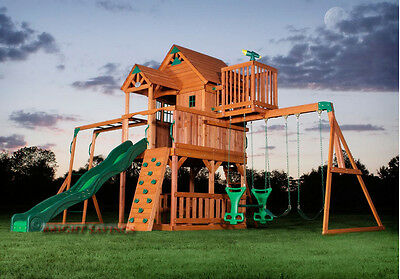 Outdoor Wooden Swing Set Toy Playhouse PlaySet with Slide Ladders Climbing Wall