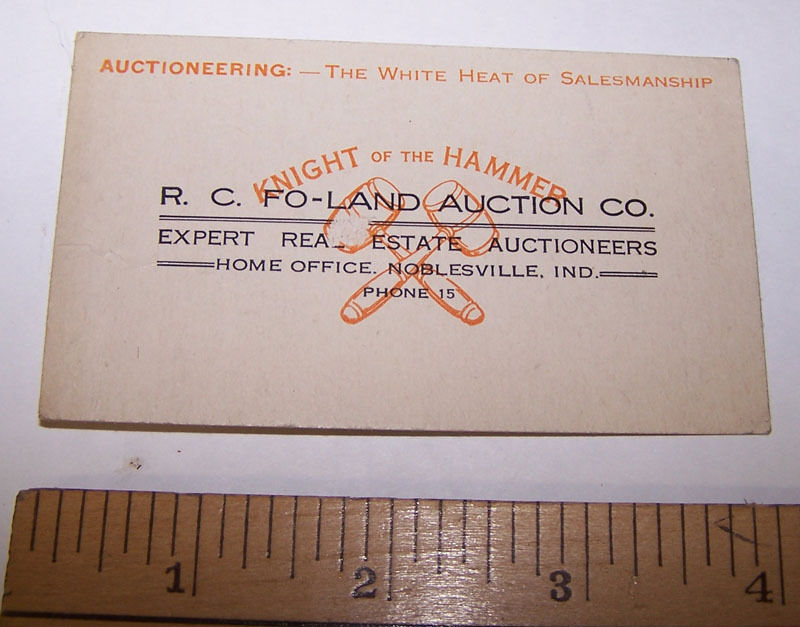 Antique RC FO-LAND AUCTION COMPANY Business Card NOBLESVILLE INDIANA Auctioneer