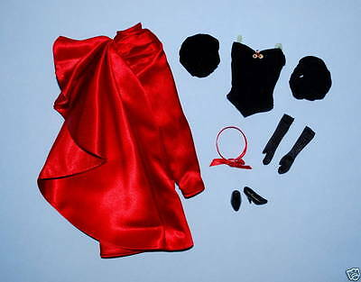 RADIANT Satin Red Formal Genuine BARBIE Skirt Outfit w/ Heels & Gloves Headband