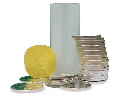 Roll Of 25 1Oz Silver Canadian Maple Leaf  5 Coins   Canada Rcm Mint Tube