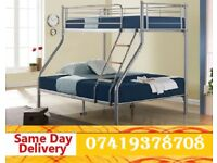 Brand New metal triosleeper Bunkk Bed Available With Mattress timi