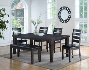 Tudor grey collection table w/ butterfly leaf,4 chairs and bench