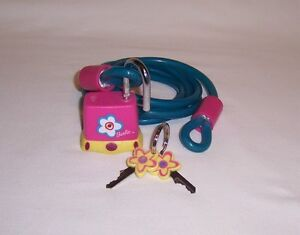 BARBIE Pink Bicycle Lock + 5' Plastic Coated Steel Cable