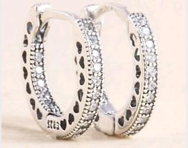 Ladies 925 Silver Heart Hoops