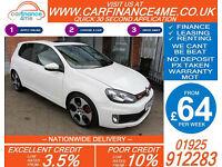 2012 VW GOLF GTI 2.0 DSG GOOD / BAD CREDIT CAR FINANCE FROM 64 P/WK