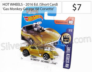 HOT WHEELS 'Chevrolet 1968 Corvette Gold 'Gas Monkey' Short Card