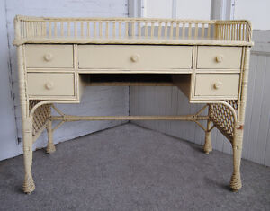 Fabulous Shabby Chic Antique Victorian Wicker Desk Pale Yellow