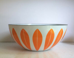 Vintage Cathrineholm Orange/White Enamel Lotus Bowl - Huge - 11""