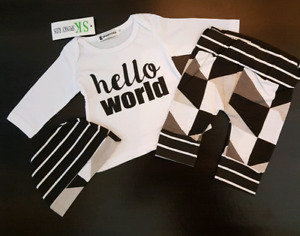 """""""Hello World"""" Outfit (0-3 Months); Brand New"""