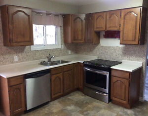 Wood kitchen cabinets, laminate counter tops,double sink ,faucet
