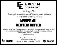 Equipment Delivery Driver