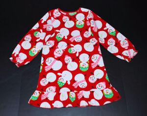 Carters Red Snowman Fleece Nightie Girls Small 6-7 years MINT