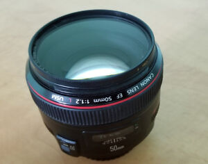 Canon EF 50mm f/1.2 L USM Lens with B+W UV filter