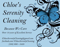 Chloe's serenity cleaning professionals at all times