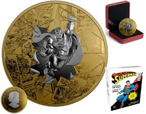 Superman Brave Bold $50 Reverse 3oz Gold-Plated Pure Silver Coin