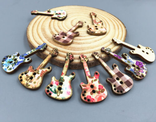 50pcs Electric guitar Shape Wooden buttons printing Sewing scrapbooking 34mm