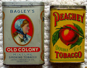 COLLECTIBLE VERTICAL POCKET TOBACCO TINS; OLD COLONY, PEACHEY