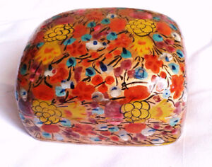 Vintage indian wood flower box  hand painted