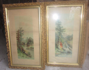 Antique Chromolithograph Framed Prints In Original Frames 1884