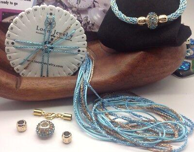"""Carmel Cream"" Kumihimo BRACELET SET LOOM Kit - beads, End caps Floss Trim"