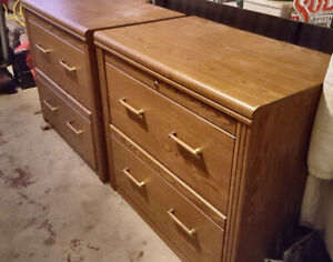 Beautiful, Solid, Dual Home Office Wood Filing Cabinets