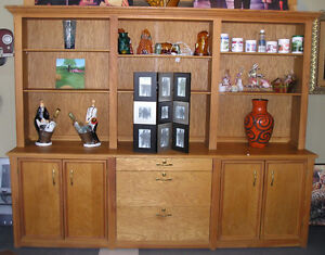8' SOLID WOOD WALL UNIT, keyed drawers, filing, etc. lots of st
