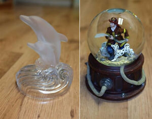 Snow globe & glass dolphins $10 for both