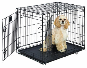 NEW Double-Door Folding Metal Dog Crate Med./LgBNIB Well Review