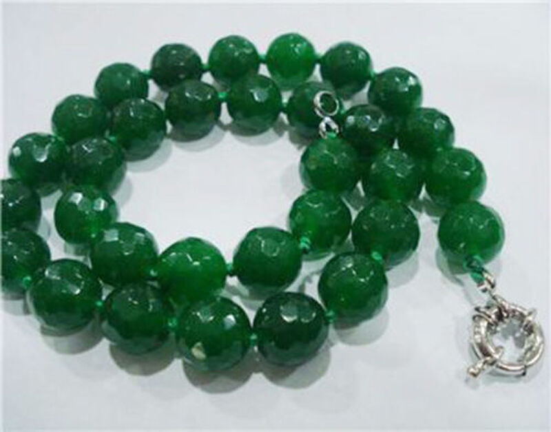 """10mm Faceted Emerald Gemstone Round Beads Necklace 18"""" Hand Knotted"""
