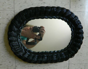 Black Wicker Mirror Oval