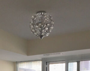 Flush Mount Ceiling Light 11.5in - Chrome with Crystal Glass