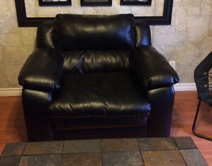 Black Bonded Leather Sofa & Chair