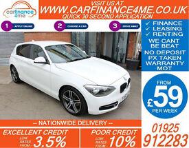 2012 BMW 118D 2.0 TD SPORT GOOD / BAD CREDIT CAR FINANCE FROM 59 P/WK