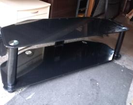 Large Black glass TVl Stand & Chrome Legs.