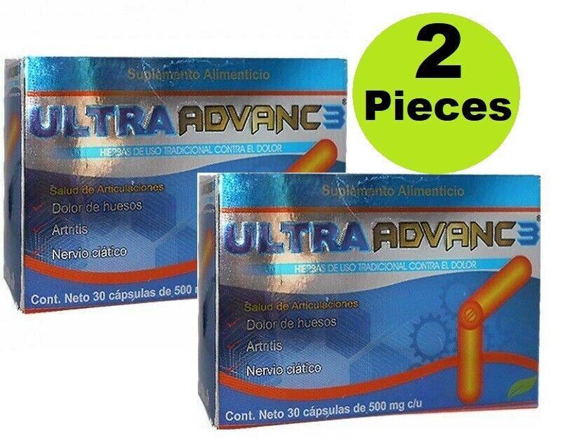 2 pieces ULTRA ADVANC 3 con ORTIGA CURCUMA JENGIBRE GLUCOSAMINA CALCIO CORAL