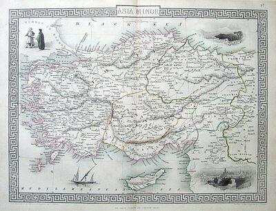 ASIA MINOR, TURKEY & CYPRUS, RAPKIN & TALLIS original antique map c1850