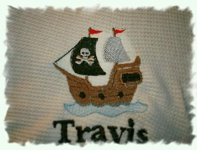 Personalized Baby Infant Toddler Blanket Pirate Ship
